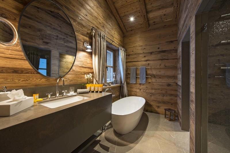 Дизайн ванной комнаты в деревянном доме стиль шале