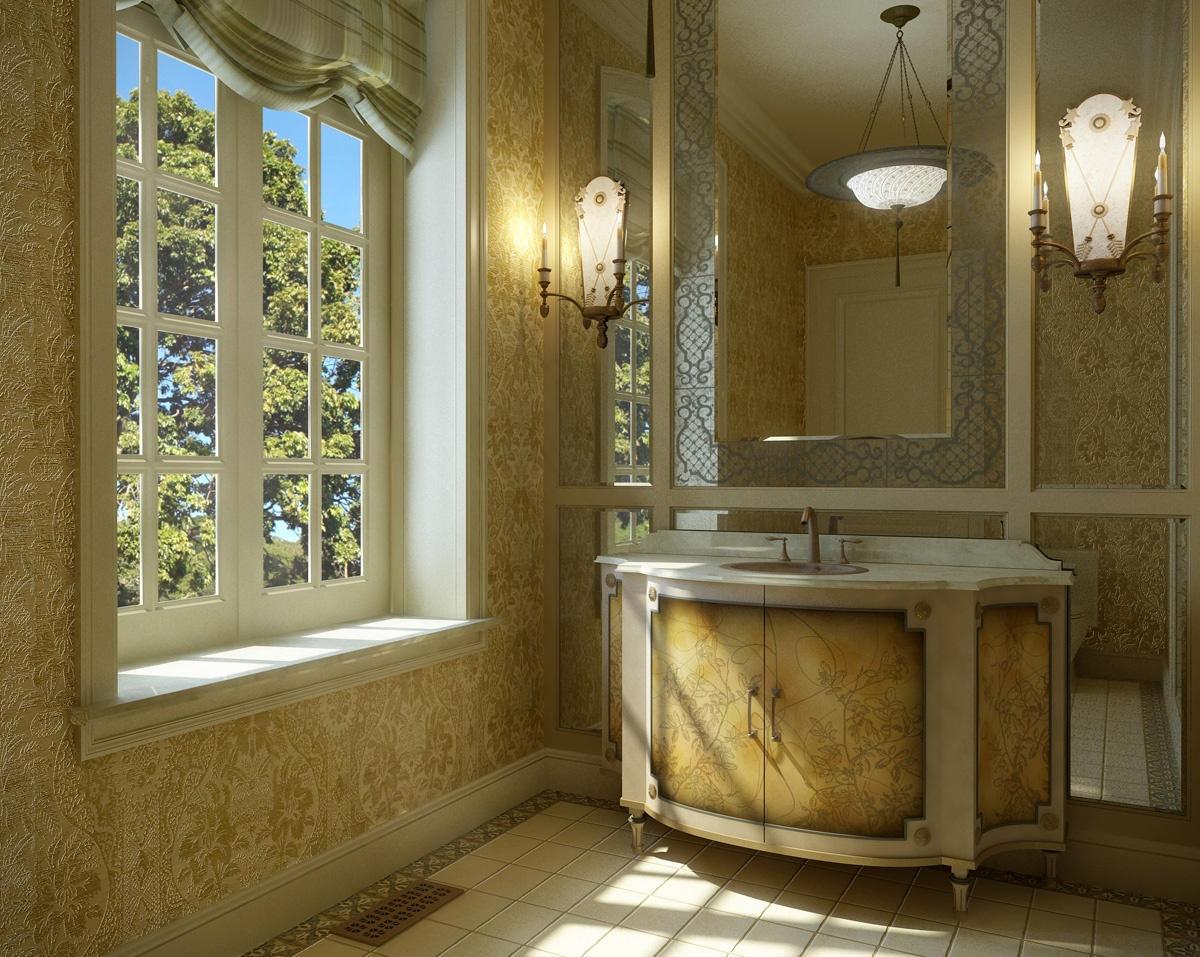 Дизайн ванной комнаты янтарное рококо
