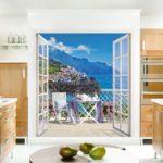 Фотообои в интерьере кухни 3d-иллюзия