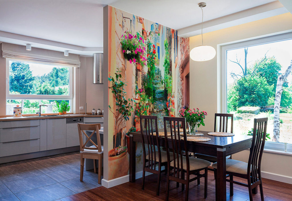Фотообои в интерьере кухни из текстиля