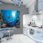 Фотообои в интерьере кухни как яркое цветовое пятно