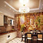 Фотообои в интерьере кухни комбинации с декоративным камнем