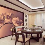 Фотообои в интерьере кухни макросъемка цветов
