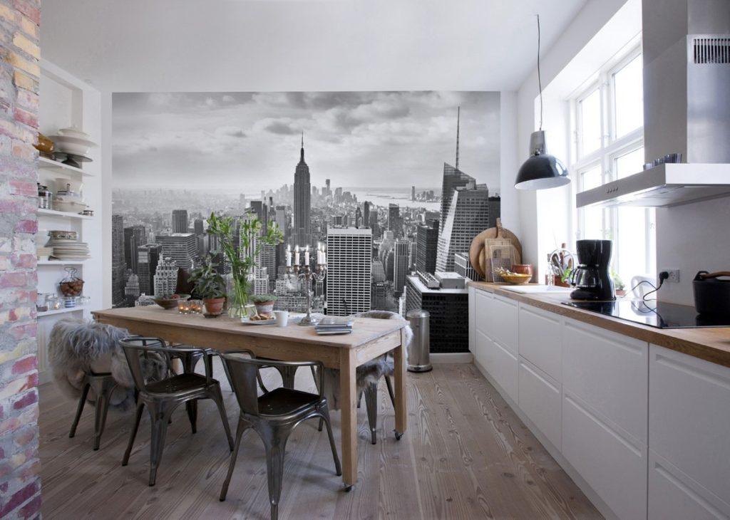 Фотообои в интерьере кухни на всю стену