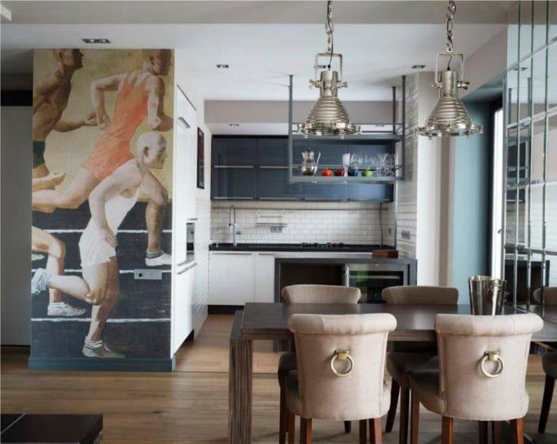 Фотообои в интерьере кухни небольшой фрагмент