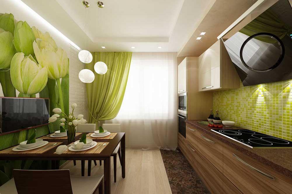 Фотообои в интерьере кухни освещение