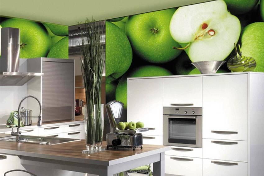 Фотообои в интерьере кухни с изображением продуктов