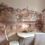 Фотообои в интерьере кухни с изображением старого города