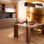 Фотообои в интерьере кухни с капучино