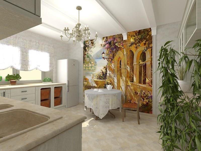 Фотообои в интерьере кухни самоклеющаяся основа