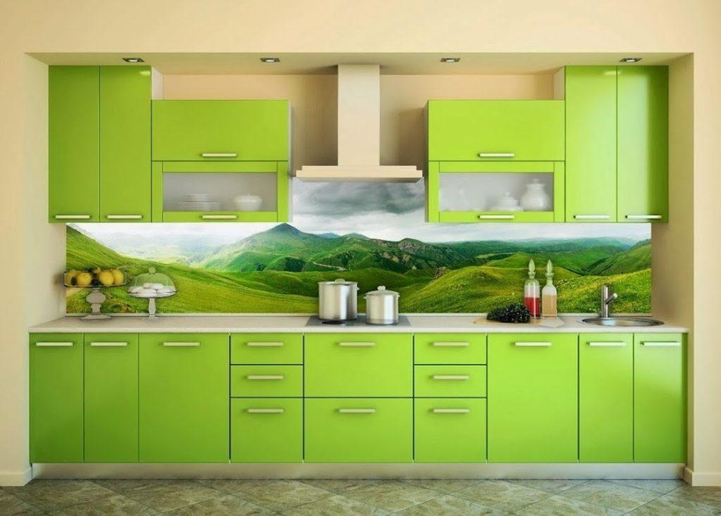 Фотообои в интерьере кухни скинали с фотоизображением