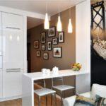 Фотообои в интерьере кухни стиля хай-тек