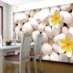 Фотообои в интерьере кухни в белом цвете