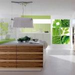 Фотообои в интерьере кухни в экологическом стиле