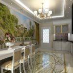 Фотообои в интерьере кухни в греческом стиле
