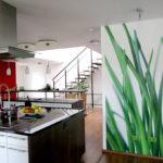 Фотообои в интерьере кухни в качестве зонирующей перегородки