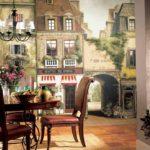 Фотообои в интерьере кухни в классическом стиле