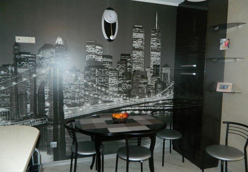 Фотообои в интерьере кухни в стиле хай-тек