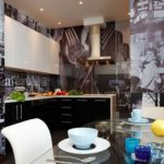 Фотообои в интерьере кухни в стиле ретро