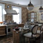 Фотообои в интерьере кухни в стиле рустик