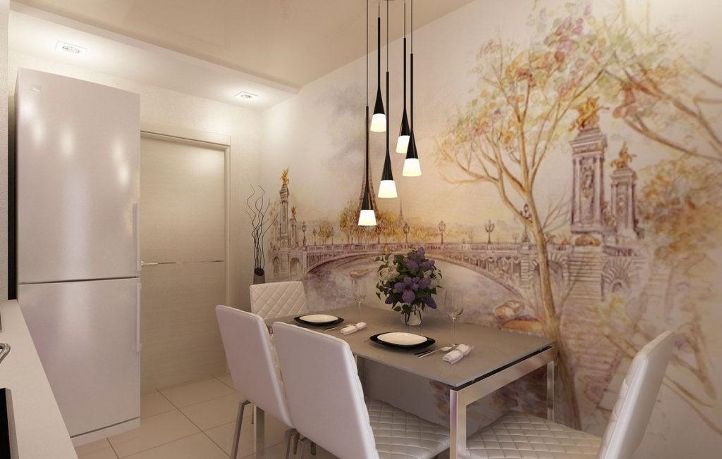 Фотообои в интерьере кухни в светлых тонах
