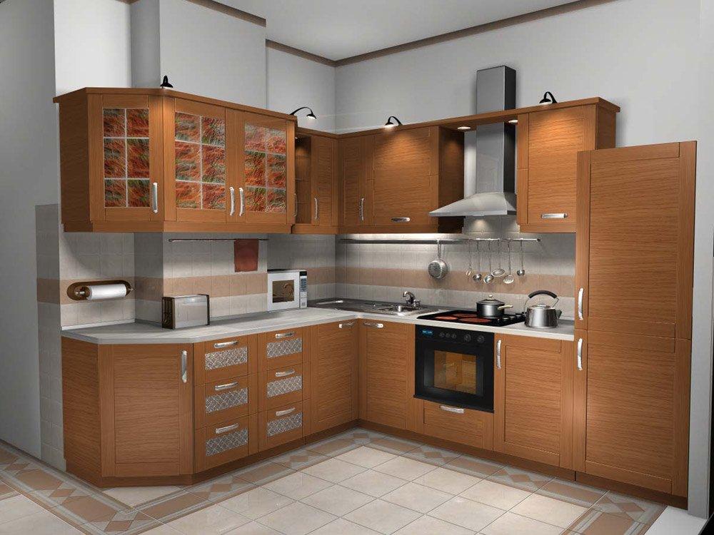 Холодильник бежевого цвета в интерьере кухни