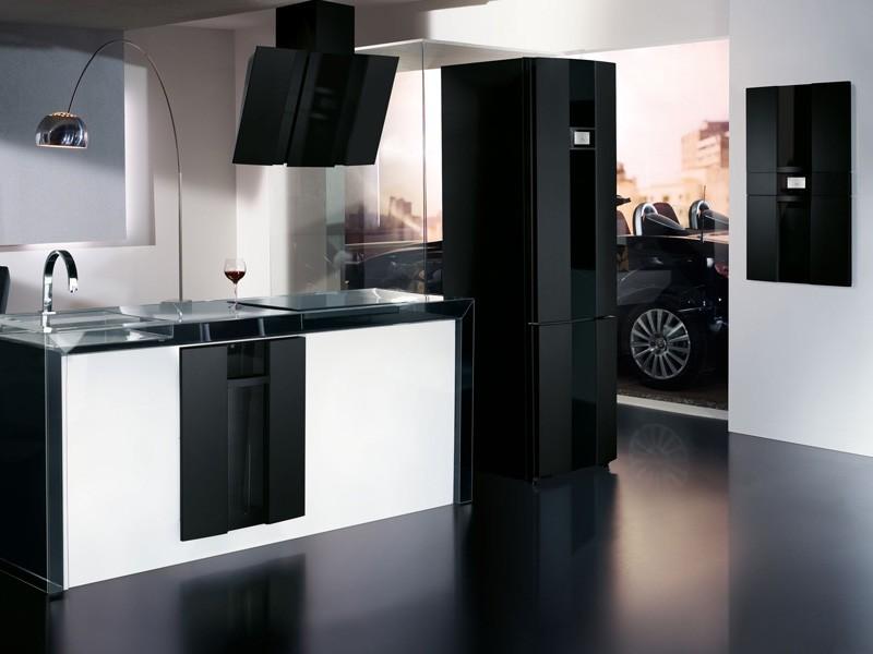 холодильник в интерьере кухни черно-белая гамма