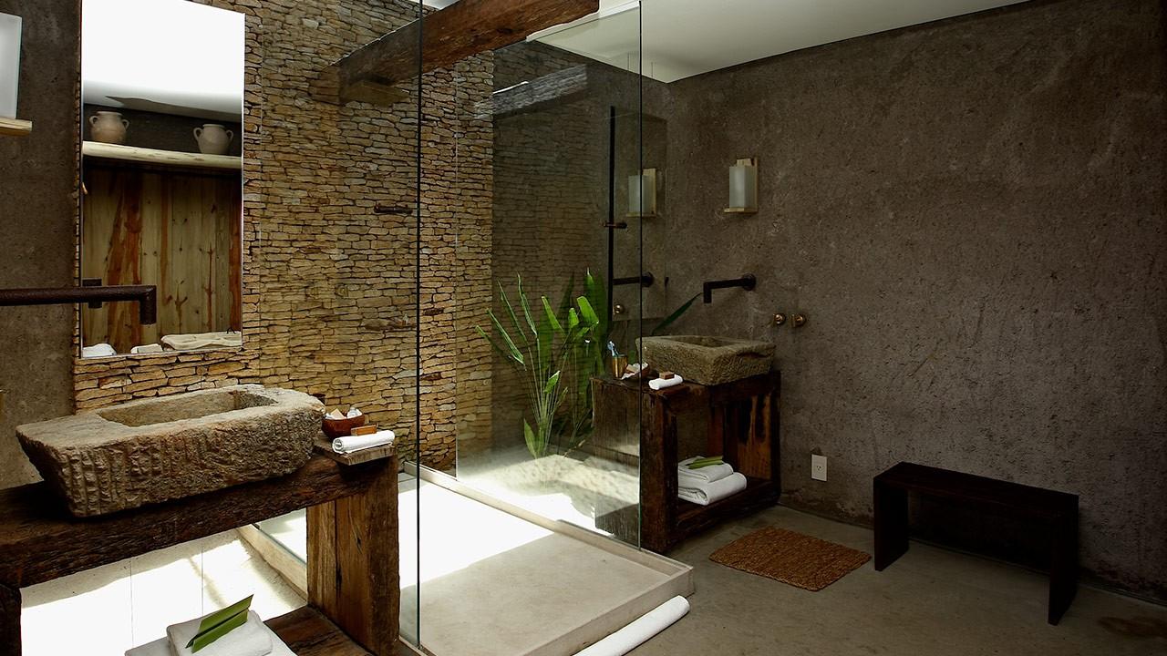 интерьер ванной в эко стиле