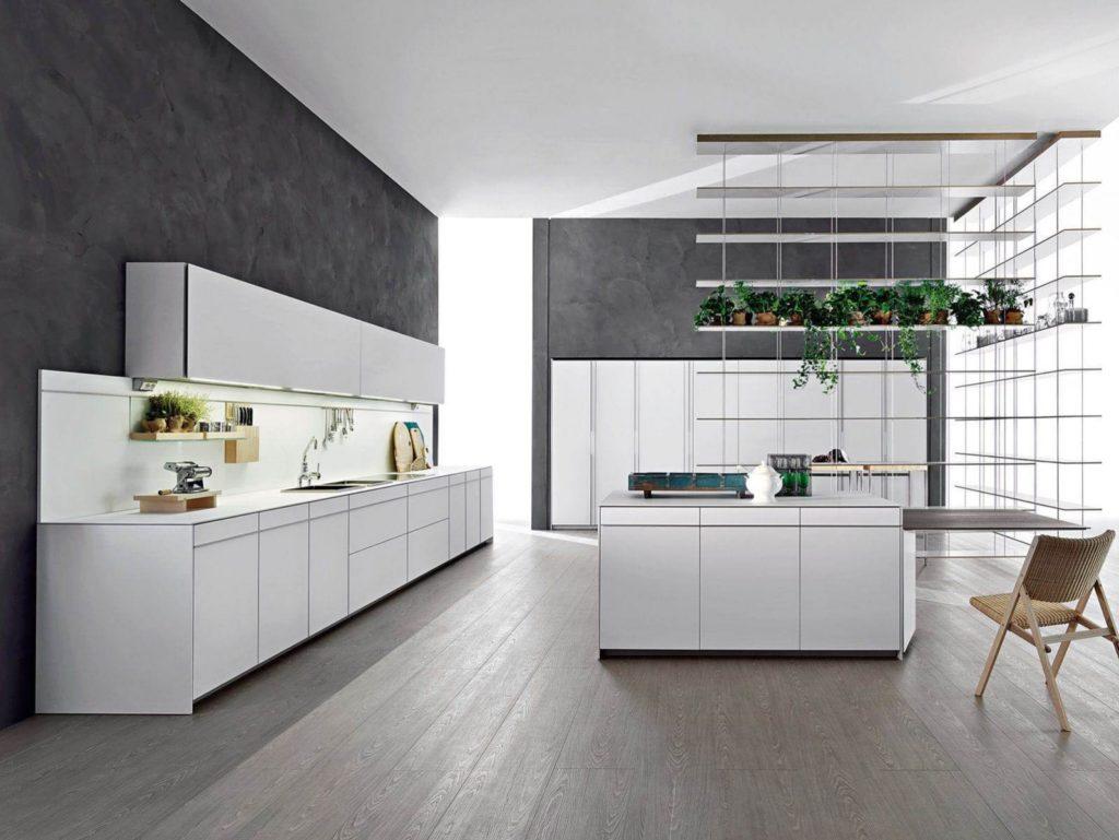 Серая палитра кухни белый потолок гармонирует с серым