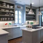 Серая палитра кухни гарнитур на белом фоне