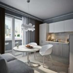 Серая палитра кухни и белая обеденная зона