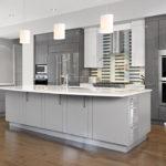 Серая палитра кухни с белым потолком и столешницами