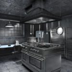 Серая палитра кухни в темных тонах