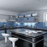 Сочетание цветов интерьер кухни ахроматические цвета и синий