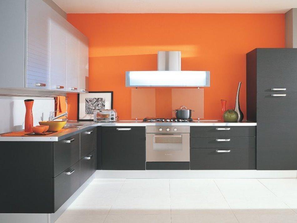 Сочетание цветов интерьер кухни бодрящий оранжевый