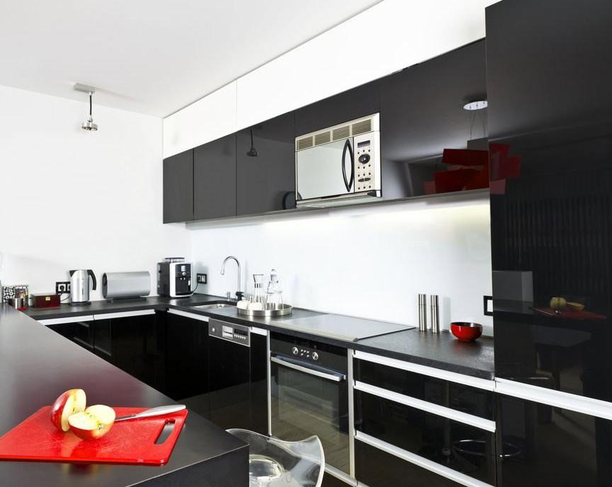 Сочетание цветов интерьер кухни черный гарнитур