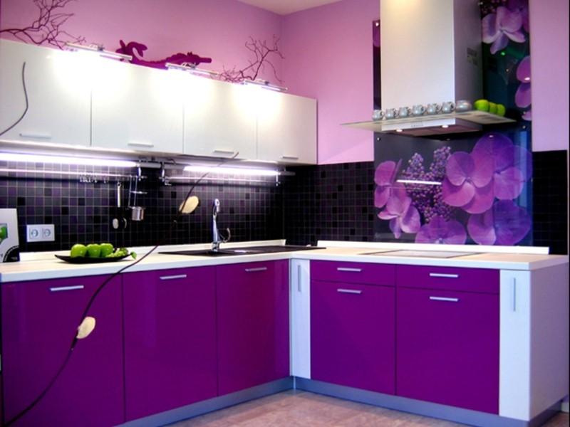 Сочетание цветов интерьер кухни черный и фиолетовый