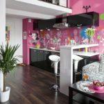 Сочетание цветов интерьер кухни фиолетовый и черный