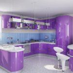 Сочетание цветов интерьер кухни глянцевый фиолетовый на светлом фоне