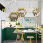 Сочетание цветов интерьер кухни холодный зеленый и желтый на белом фоне