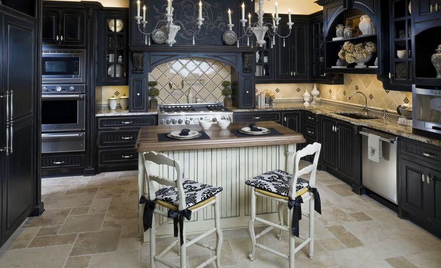 Сочетание цветов интерьер кухни классика в черном цвете