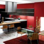 Сочетание цветов интерьер кухни красный и черный на белом