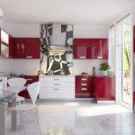 Сочетание цветов интерьер кухни красный на белом