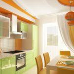 Сочетание цветов интерьер кухни оранжевый и салатовый