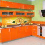 Сочетание цветов интерьер кухни оранжевый на салатовом зеленом