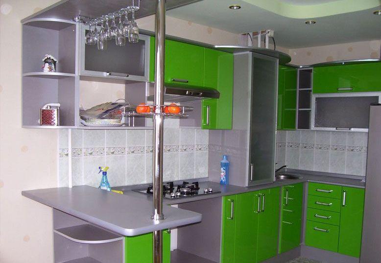 Сочетание цветов интерьер кухни серый и кислотный