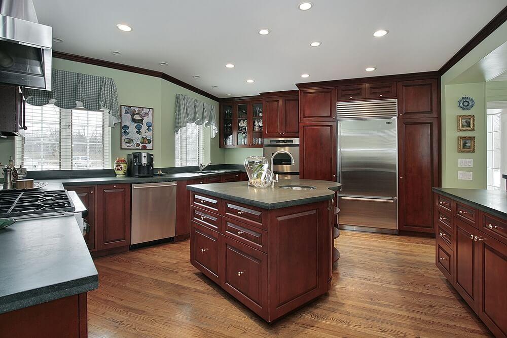 Сочетание цветов интерьер кухни зеленый и коричневы
