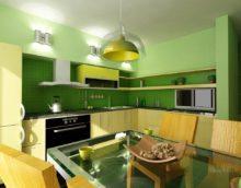 Сочетание цветов интерьер кухни зеленый и желтый