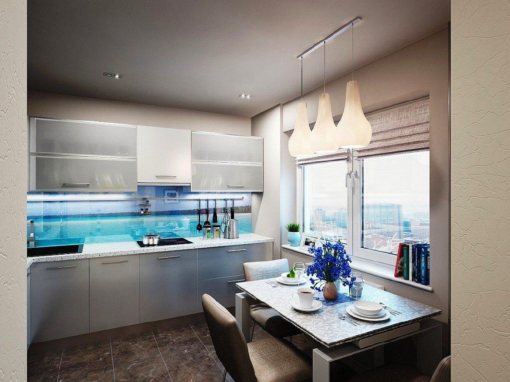 Современная кухня фартук с панорамой