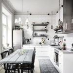 Современная кухня кафель под белый кирпич